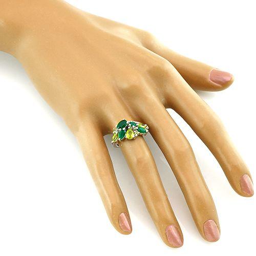 Кольцо с зеленым агатом и хризолитом – Mirserebra925.ru