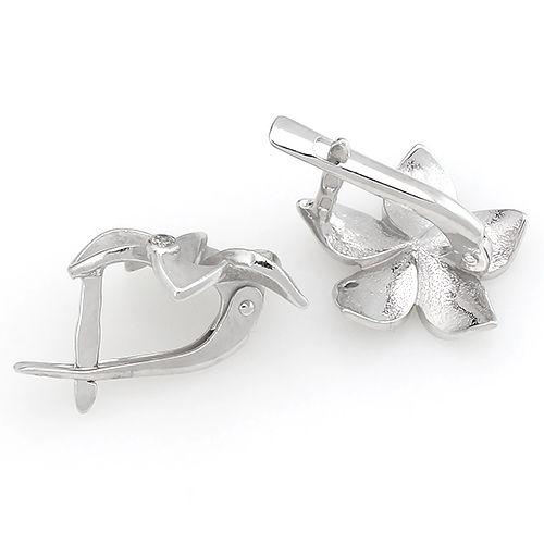 Серьги с цирконом из серебра 925 пробы ‒ Mirserebra925.ru