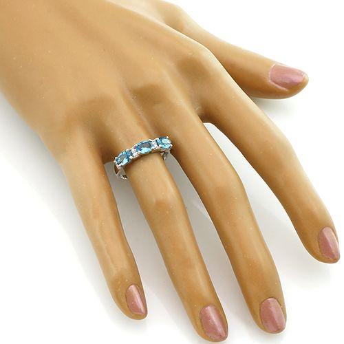 Кольцо с лондонским топазом из серебра 925 пробы ‒ Mirserebra925.ru