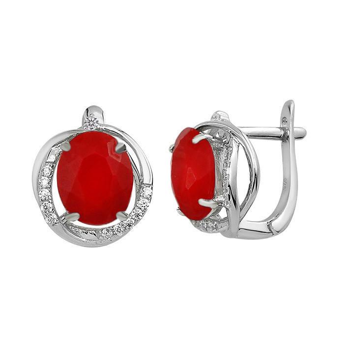 Серебряные серьги с кораллом ‒ Mirserebra925.ru