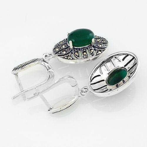 Серьги с марказитом и зеленым агатом в серебре 925 пробы ‒ Mirserebra925.ru