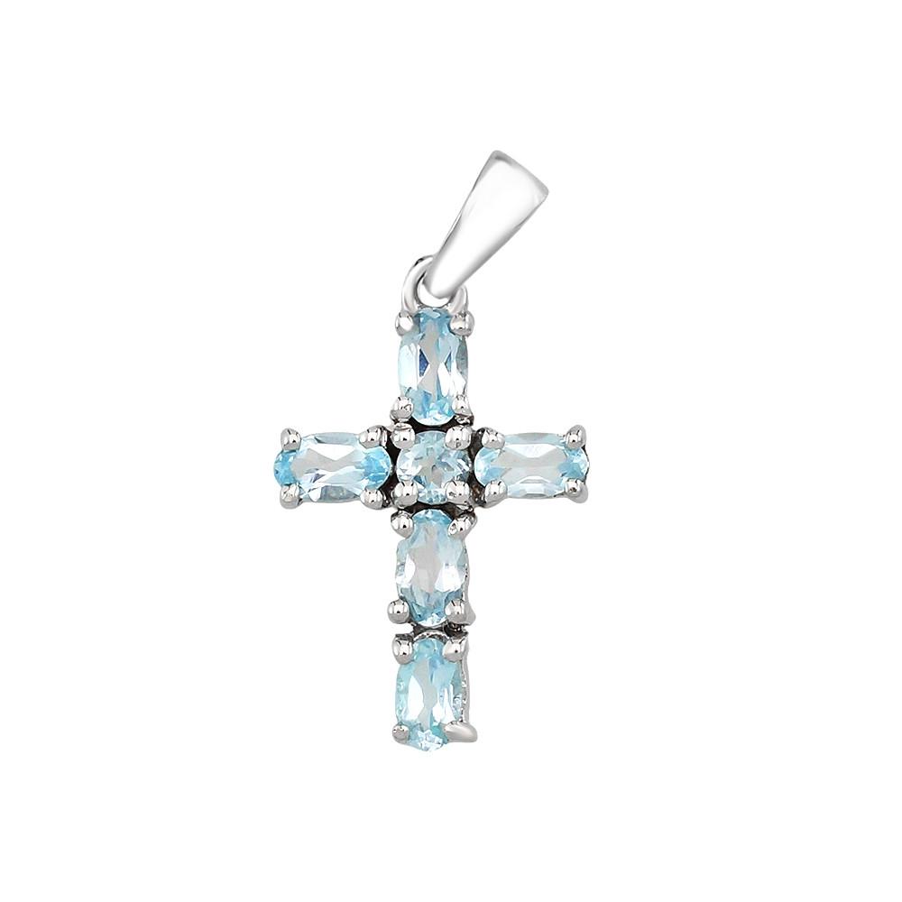 Серебряный крестик с топазом ‒ Mirserebra925.ru
