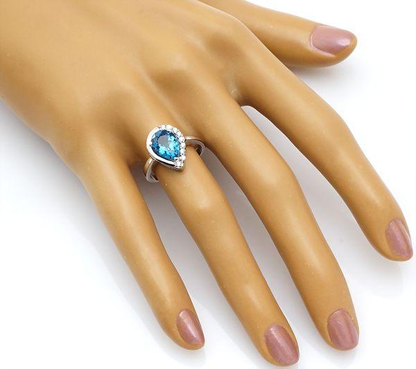 Кольцо с лондон топазом в серебре 925 пробы