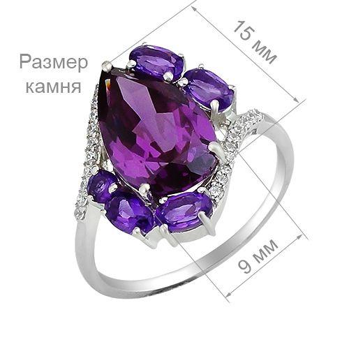 Кольцо с александритом и аметистом из серебра 925 пробы – Mirserebra925.ru