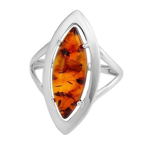 Кольцо с янтарем ‒ Mirserebra925.ru