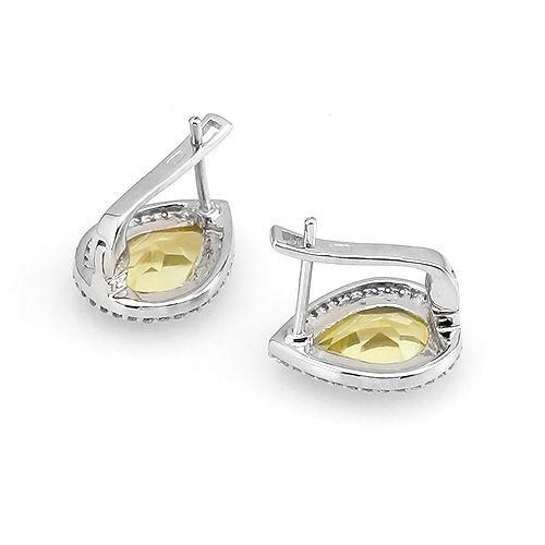Серьги с лимонным топазом из серебра 925 пробы – Mirserebra925.ru