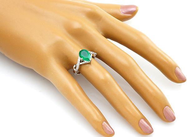 Кольцо с зеленым агатом из серебра 925 пробы