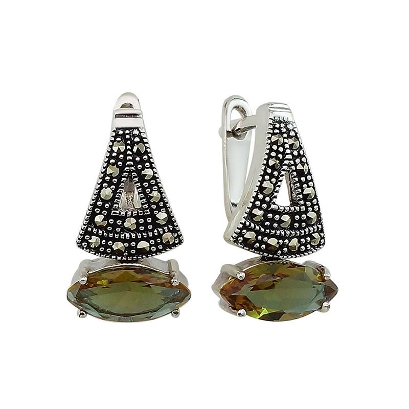 Серебряные серьги с марказитом ‒ Mirserebra925.ru