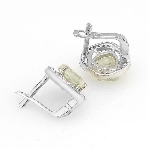 Серьги с зеленым аметистом из серебра 925 пробы – Mirserebra925.ru
