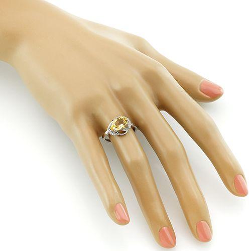 Кольцо с цитрином из серебра 925 пробы – Mirserebra925.ru