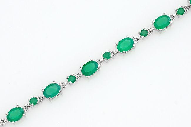Браслет с зелеными агатами из серебра 925 пробы – Mirserebra925.ru