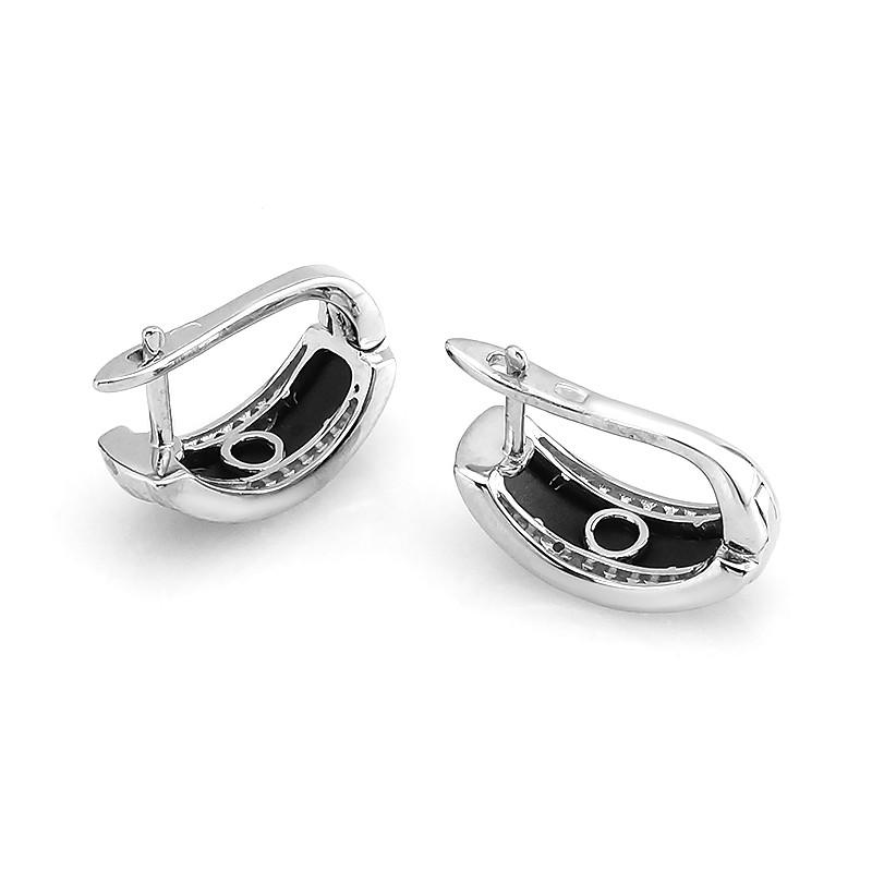 Серьги с матовой керамикой серебряные – Mirserebra925.ru