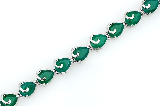 Браслет с зеленым агатом в серебре 925 пробы – Mirserebra925.ru