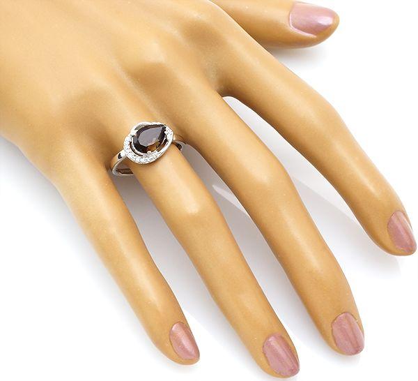 Кольцо с раухтопазом в серебре 925 пробы