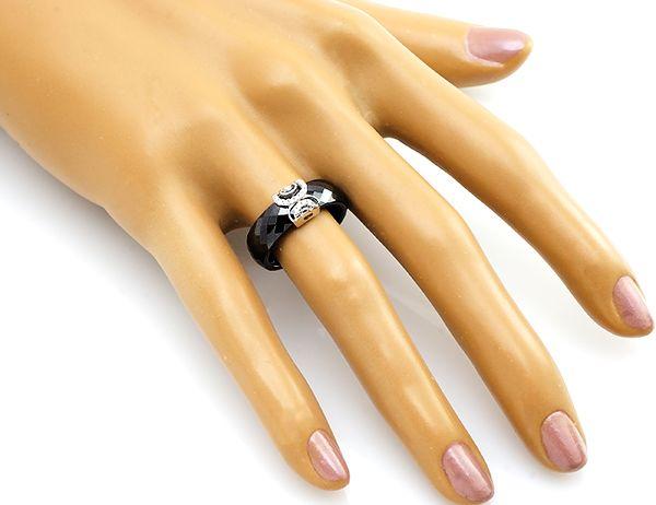 Кольцо с керамикой из серебра 925 пробы