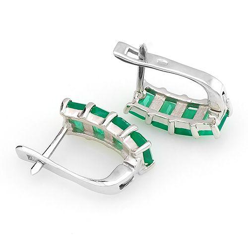 Серьги с зеленым агатом в серебре 925 пробы ‒ Mirserebra925.ru