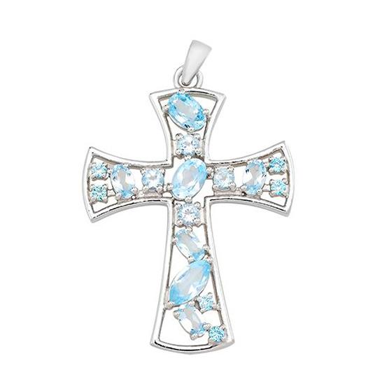 Серебряный крестик с топазом – Mirserebra925.ru