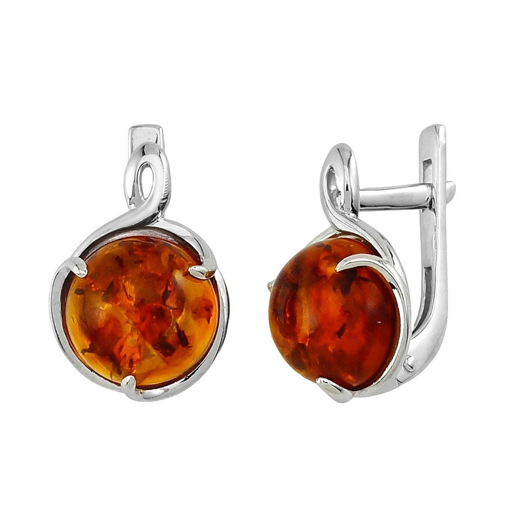 Серебряные серьги с янтарем ‒ Mirserebra925.ru