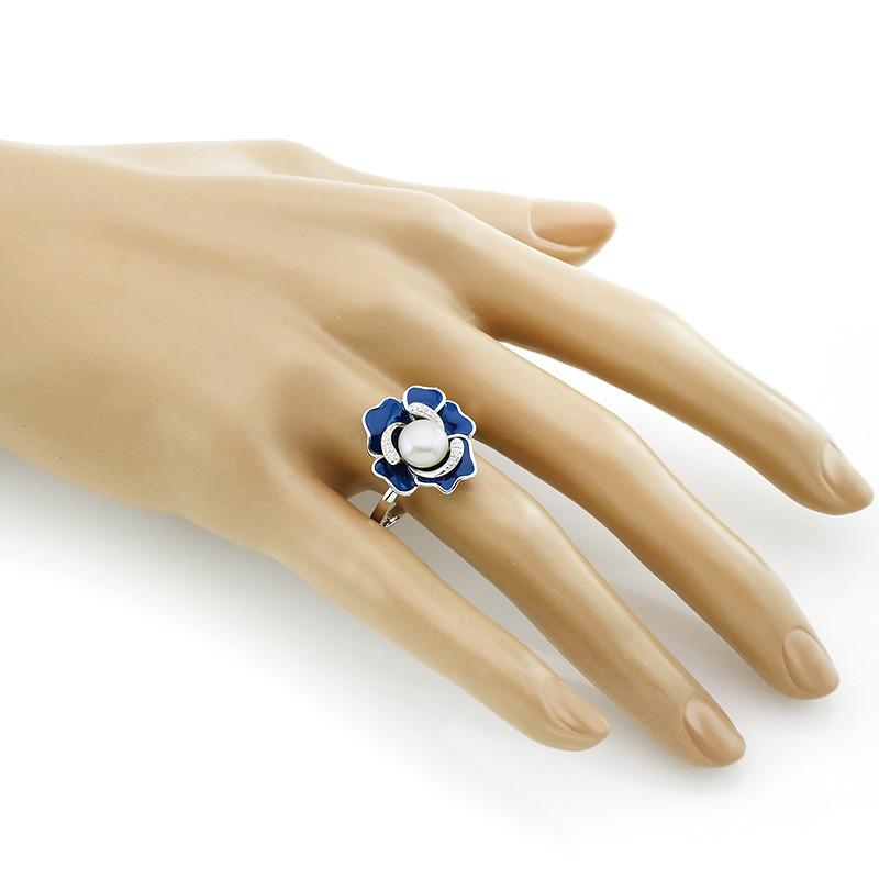 Кольцо с эмалью и жемчугом ‒ Mirserebra925.ru
