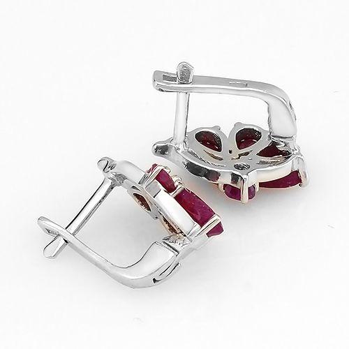 Серьги с рубинами из серебра 925 пробы – Mirserebra925.ru