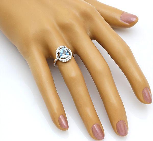 Кольцо с топазом из серебра 925 пробы