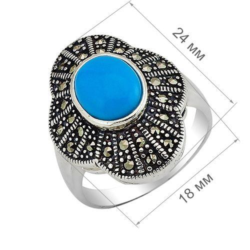 Кольцо с марказитом и бирюзой ‒ Mirserebra925.ru