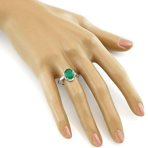 Кольцо с зеленым агатом ‒ Mirserebra925.ru