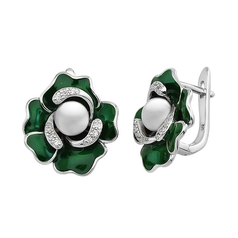Серебряные серьги с эмалью и жемчугом ‒ Mirserebra925.ru