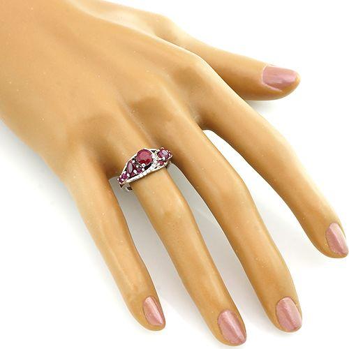 Кольцо с рубинами из серебра 925 пробы – Mirserebra925.ru