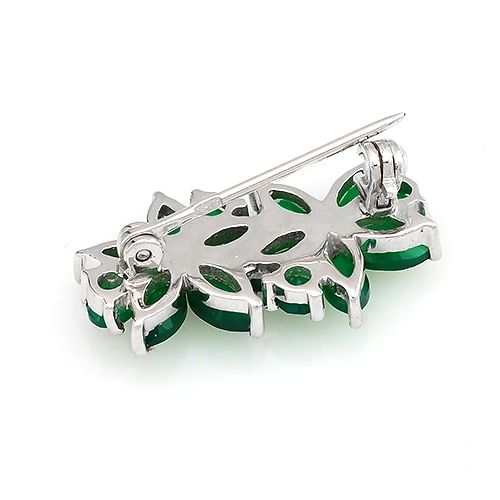 Брошь с зеленым агатом из серебра 925 пробы ‒ Mirserebra925.ru