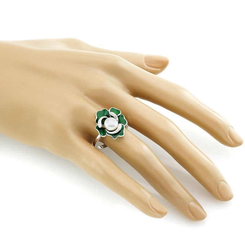 Кольцо с жемчугом и эмалью ‒ Mirserebra925.ru