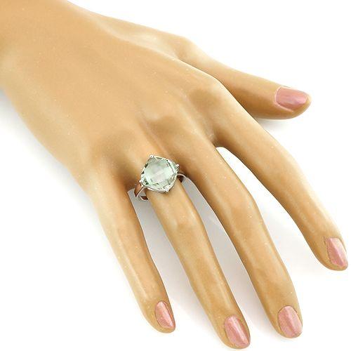 Кольцо с зеленым аметистом – Mirserebra925.ru