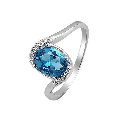 Серебряное кольцо с лондон топазом кварц ‒ Mirserebra925.ru