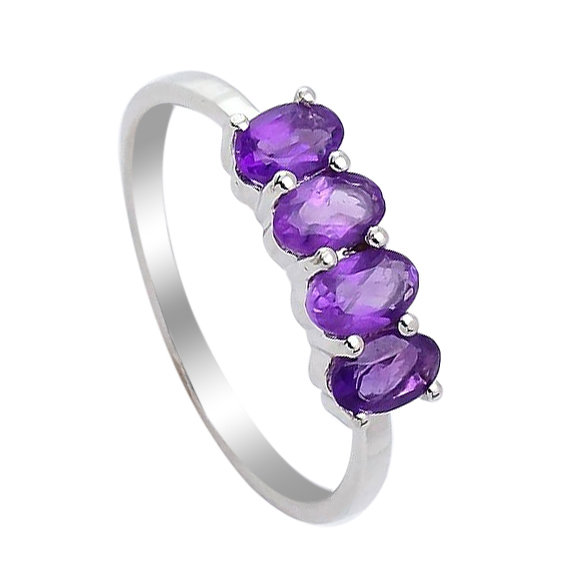 Серебряное кольцо с аметистом ‒ Mirserebra925.ru