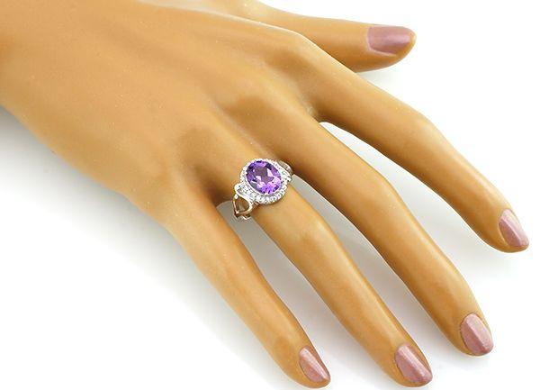 Кольцо с аметистом из серебра 925 пробы - Mirserebra925.ru
