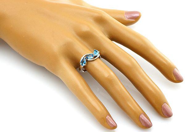 Кольцо с лондон топазом из серебра 925 пробы