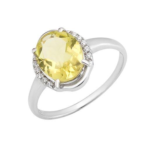 Серебряное кольцо с лимонным топазом – Mirserebra925.ru