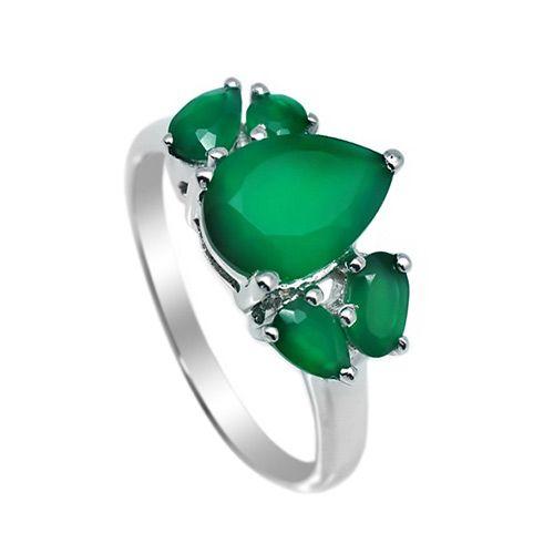 Серебряное кольцо с зеленым агатом ‒ Mirserebra925.ru