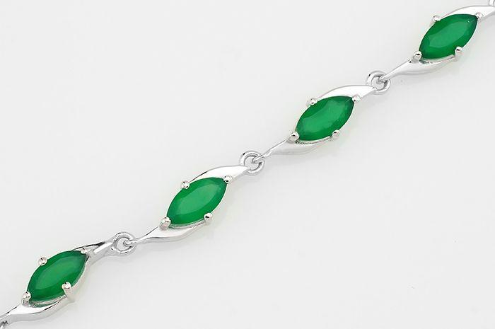 Браслет с зеленым агатом из серебра 925 пробы – Mirserebra925.ru