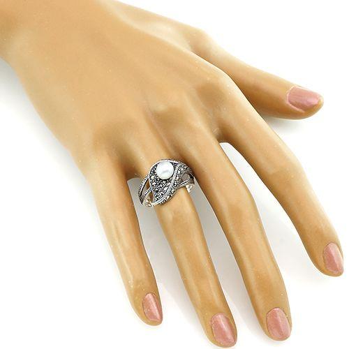 Кольцо с марказитами и жемчугом серебряное ‒ Mirserebra925.ru