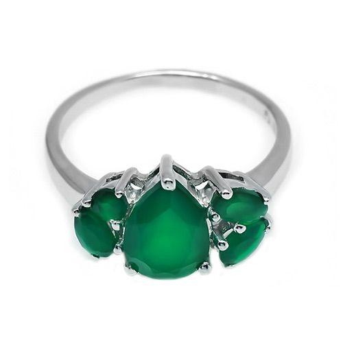 Кольцо из серебра с зеленым агатом