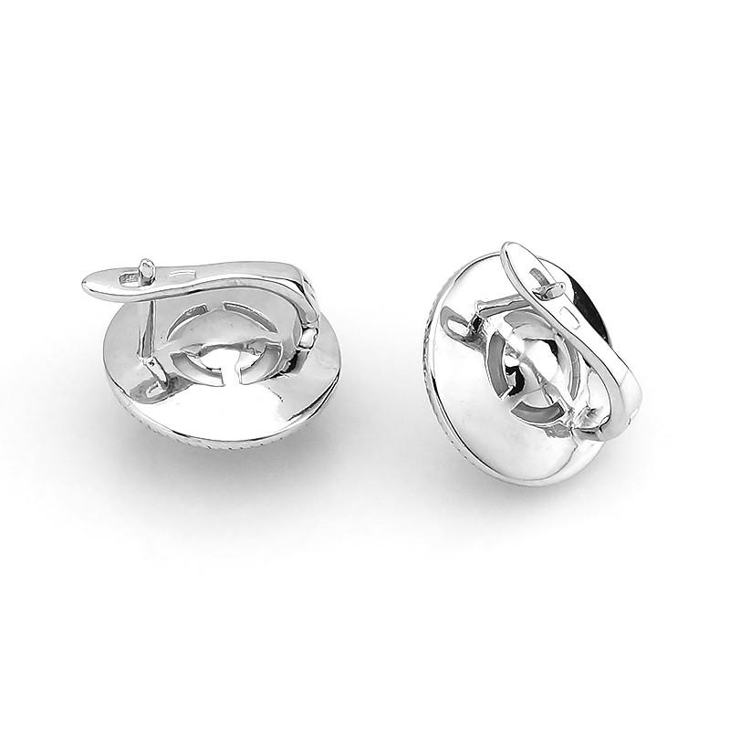Серьги с эмалью и жемчугом из серебра 925 пробы ‒ Mirserebra925.ru