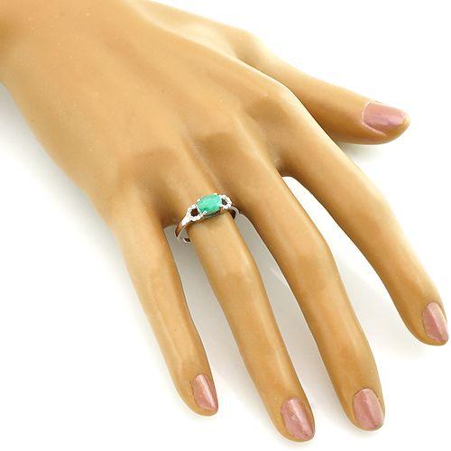 Кольцо с изумрудом из серебра 925 пробы – Mirserebra925.ru