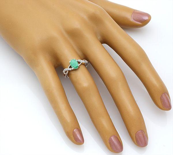 Кольцо с изумрудом в серебре 925 пробы – Mirserebra925.ru
