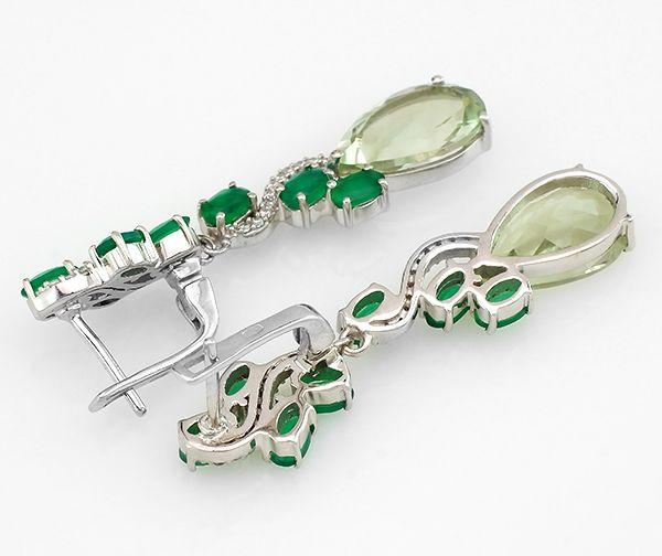 Серьги с зеленым аметистом и зеленым агатом из серебра 925 пробы – Mirserebra925.ru