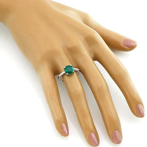 Кольцо с зеленым агатом из серебра 925 пробы ‒ Mirserebra925.ru