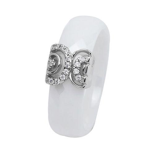 Кольцо из керамики с серебром 925 пробы