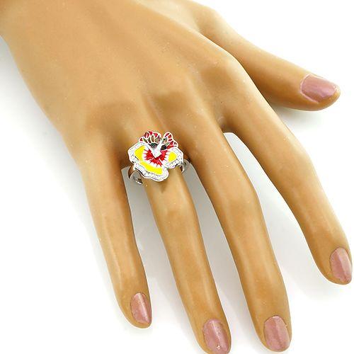 Кольцо с эмалью из серебра 925 пробы – Mirserebra925.ru