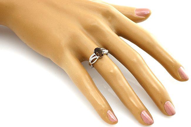 Кольцо с раухтопазом из серебре 925 пробы