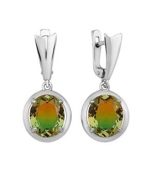 Серебряные серьги с радужным кварцем ‒ Mirserebra925.ru
